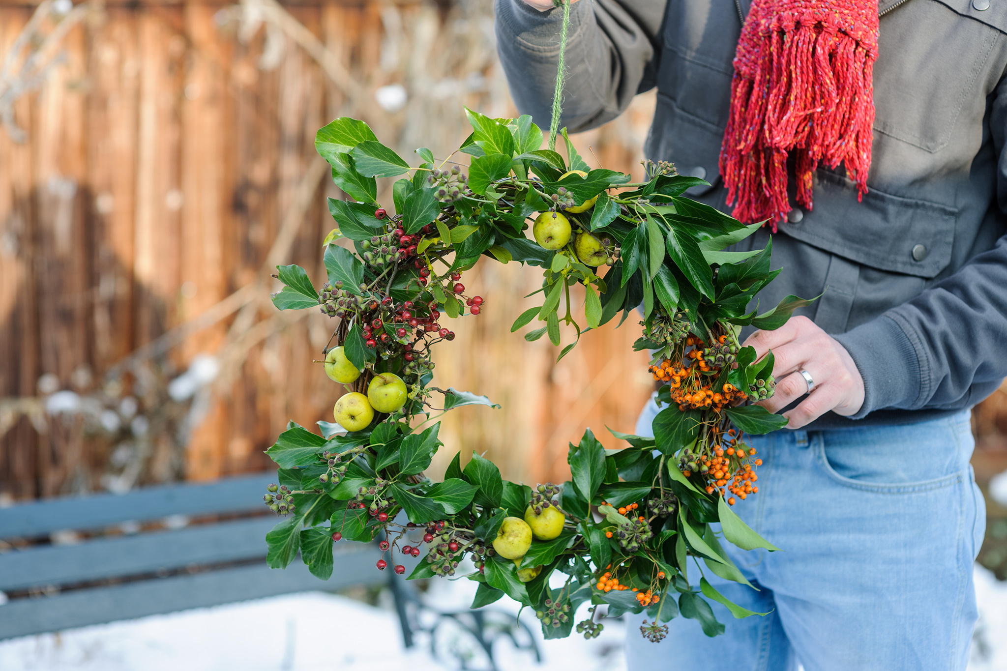 Pyracantha, crab apple and ivy wreath