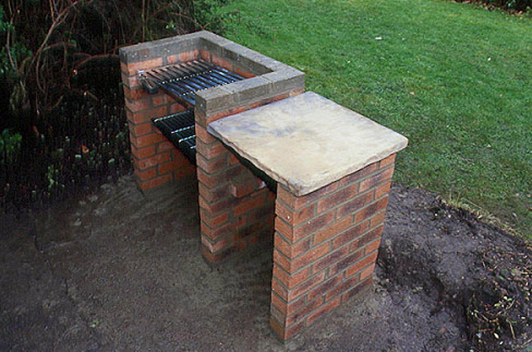 A brick barbecue