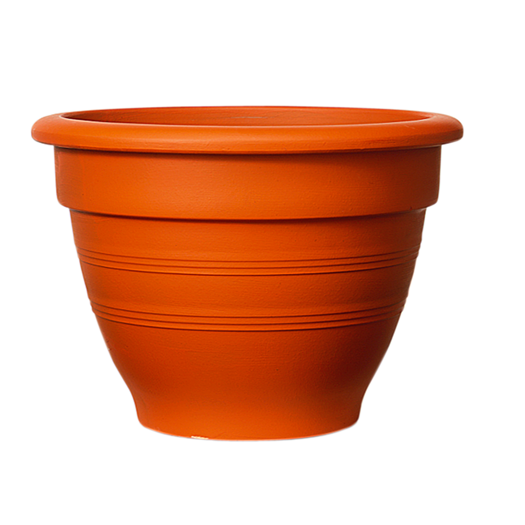 Plastic terracotta effect pot