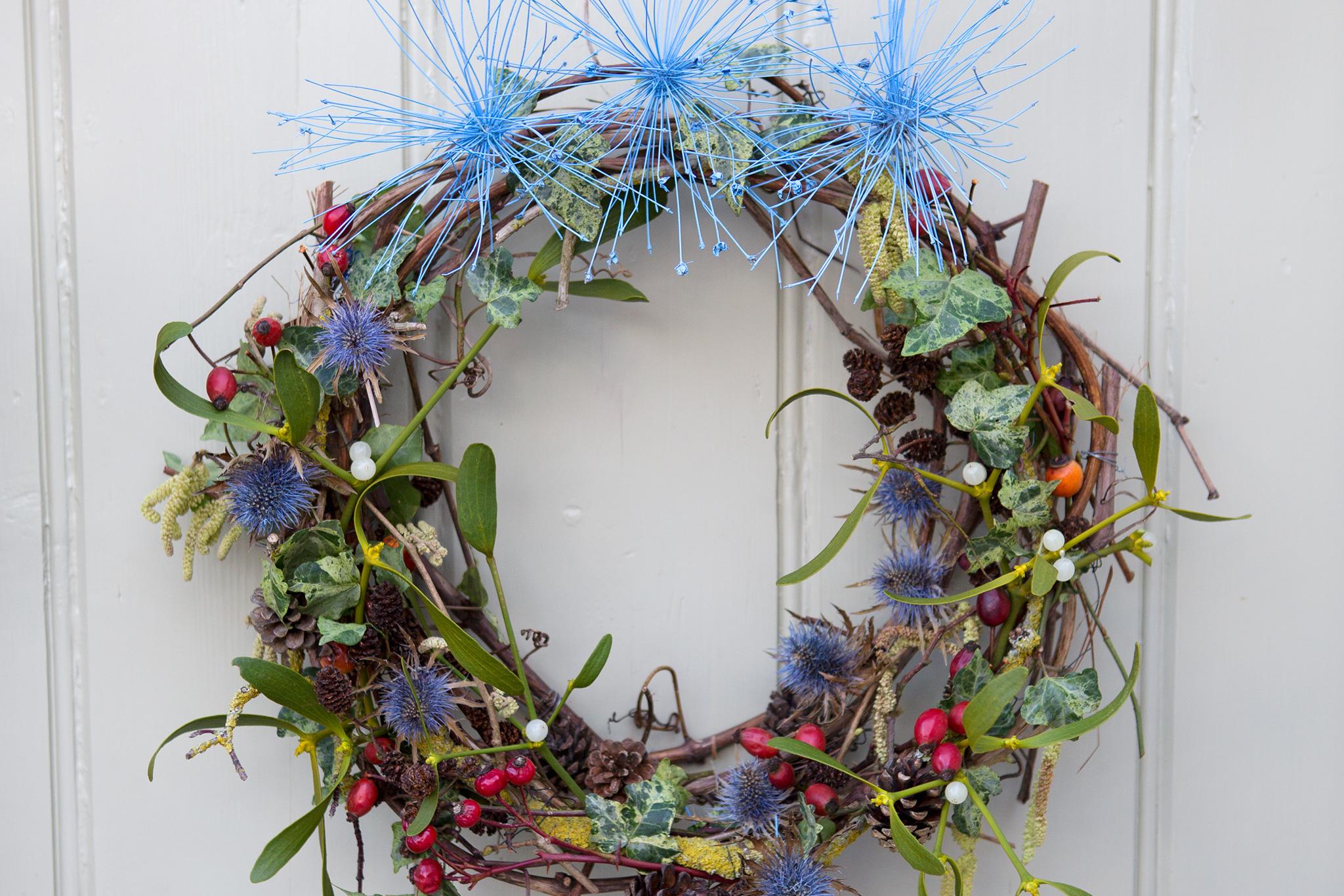 Mistletoe and sea holly Christmas wreath