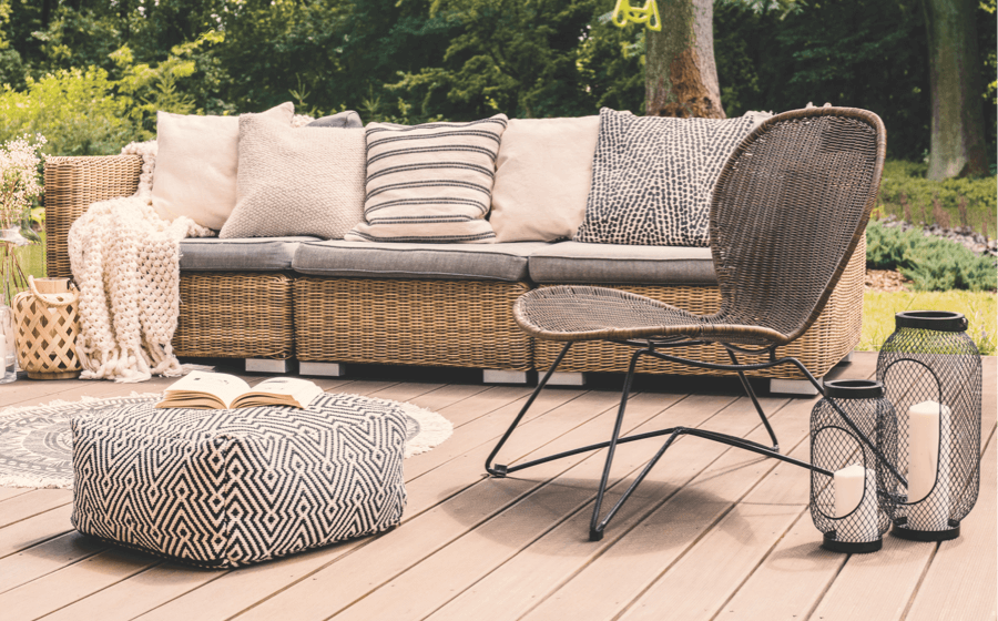 Wooden decking and furniture