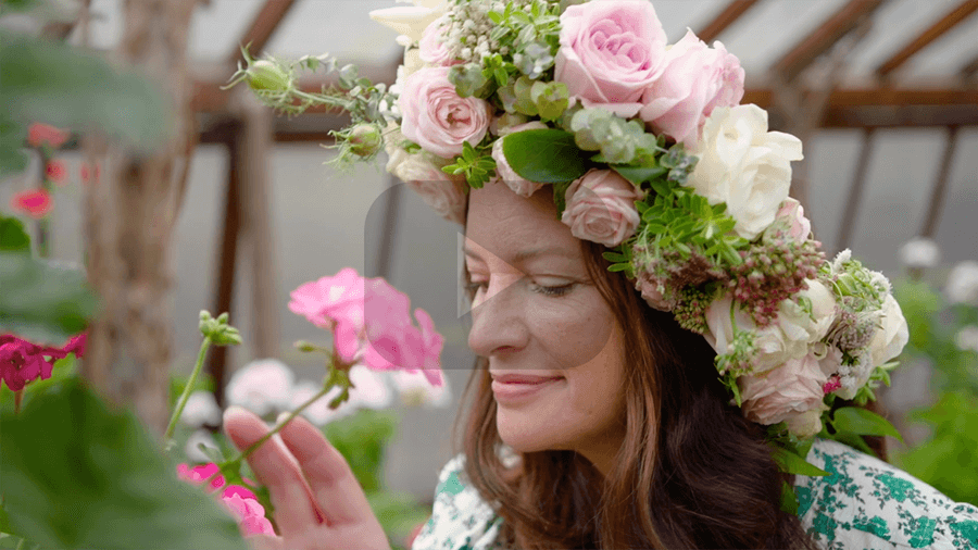 Lady donning a flower crown