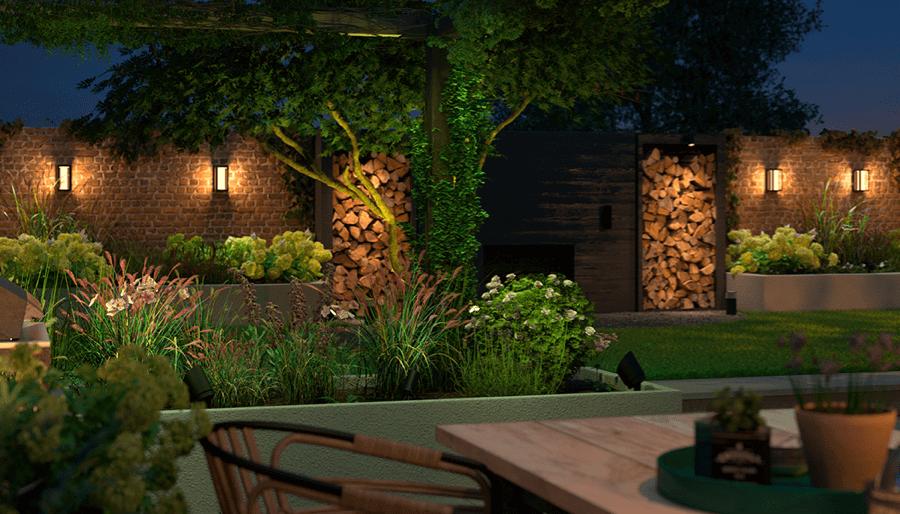 Philips Hue WACA outdoor lighting in a garden