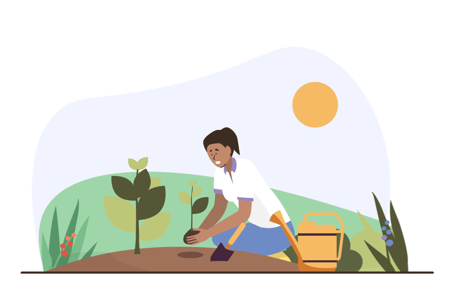 Illustration of someone planting a plant in the ground