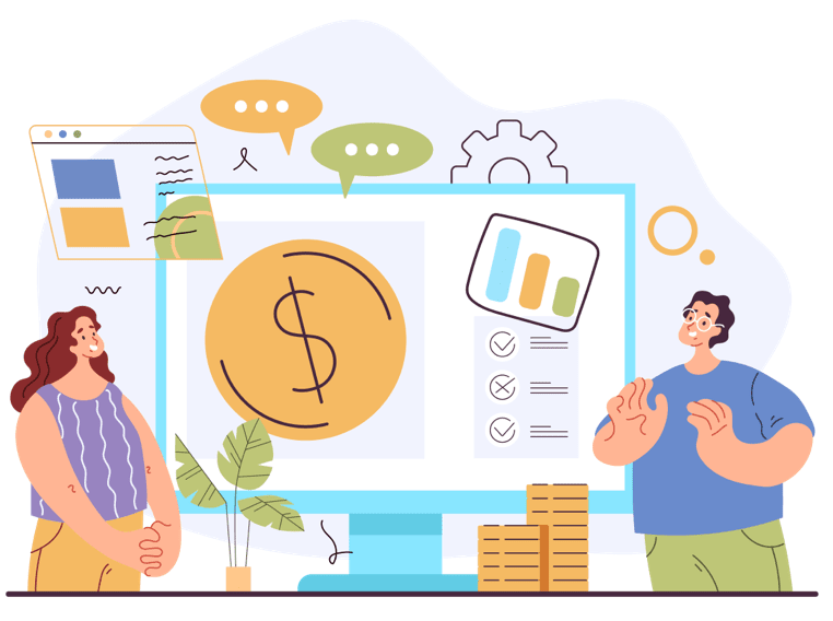 Illustration of two people and finances