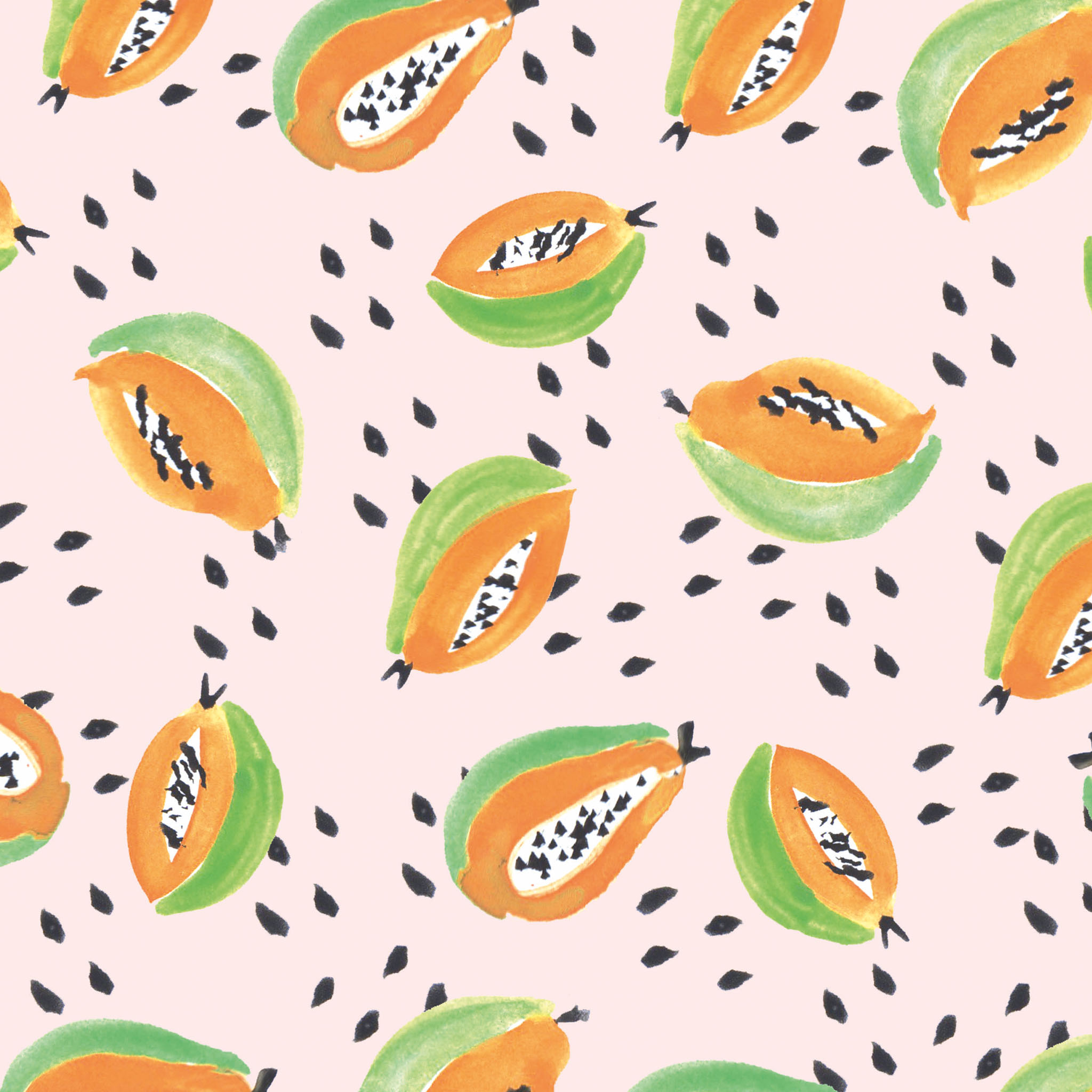 Download Free Illustrated Papaya Wallpaper For Your Phone