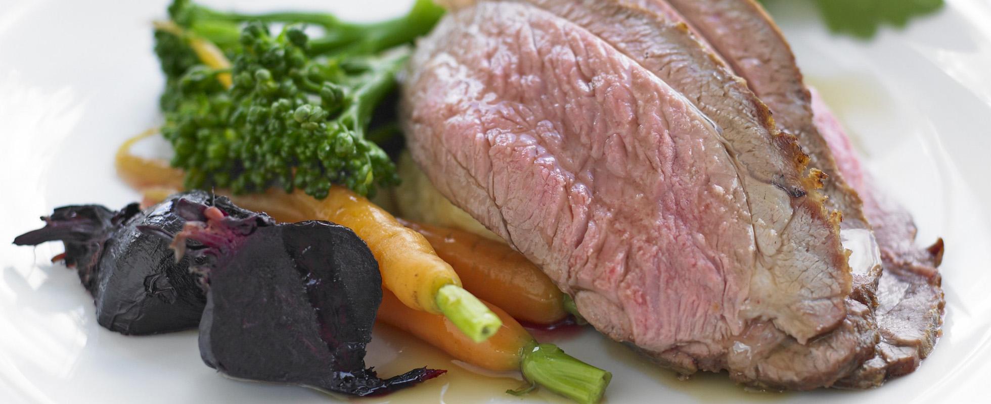 Lamb rump with seasonal vegetables