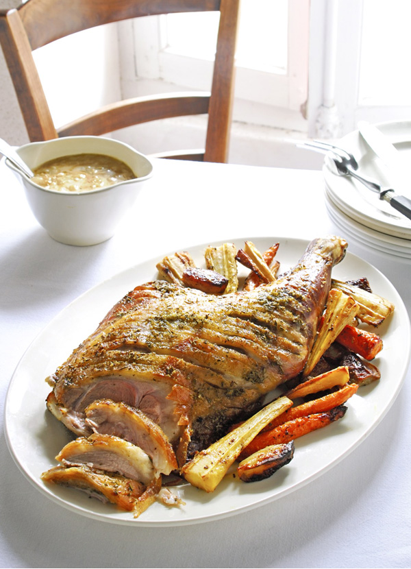 Roast Lamb Shoulder Recipe With Roast Vegetables And Onion Sauce