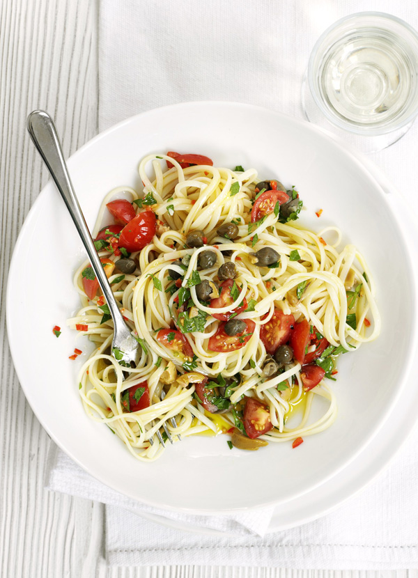 Linguine with fresh puttanesca sauce