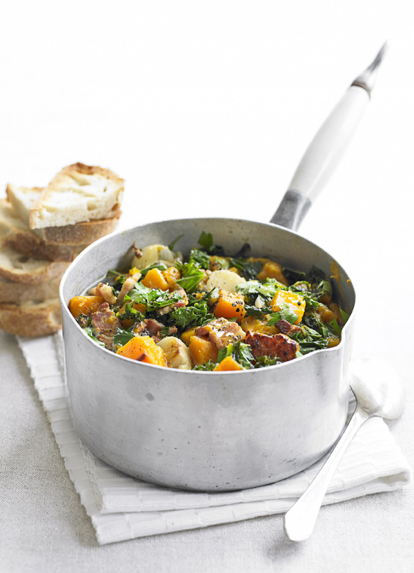 Easy Kale Recipe with Pumpkin and Bacon