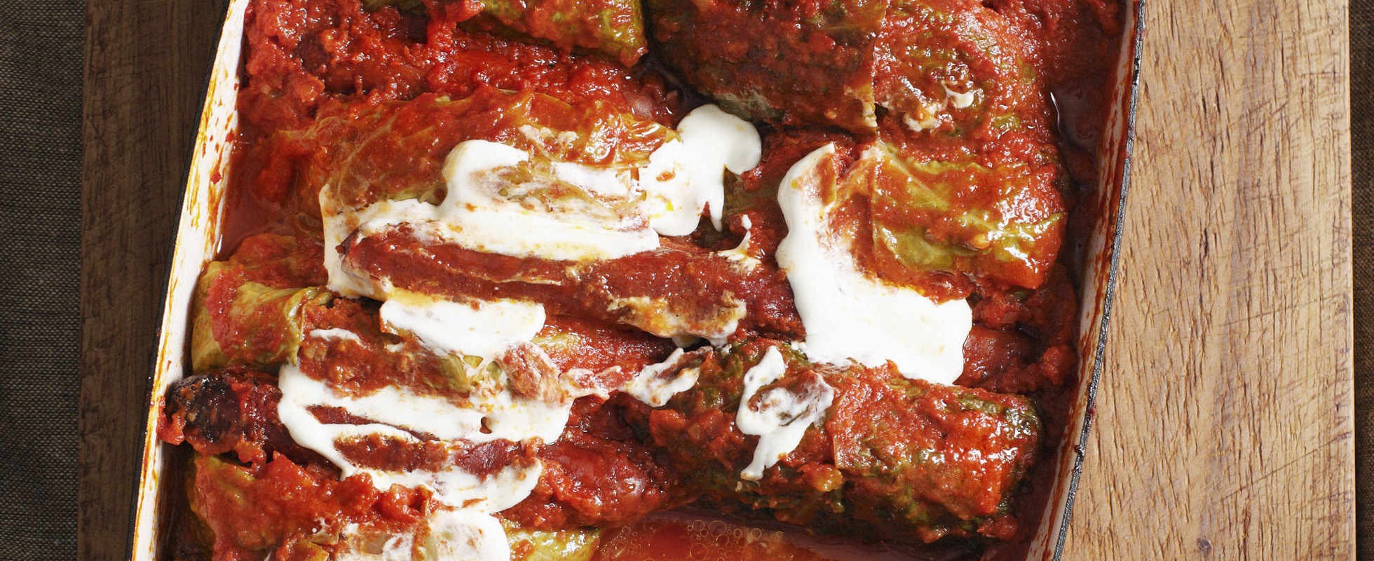 Polish stuffed cabbage rolls golabki in tomato sauce