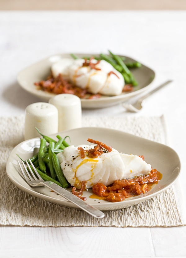 Cod with tomato and chorizo sauce
