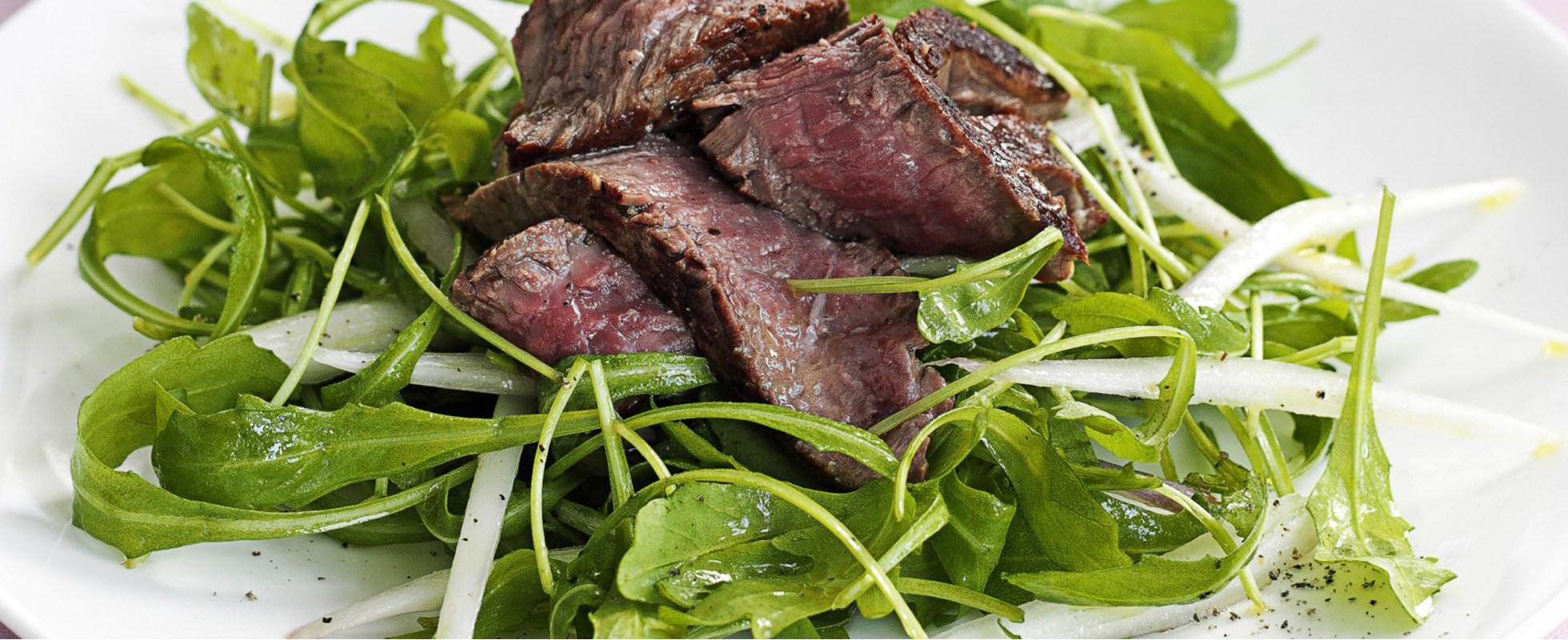Rocket, seared beef and shallot salad
