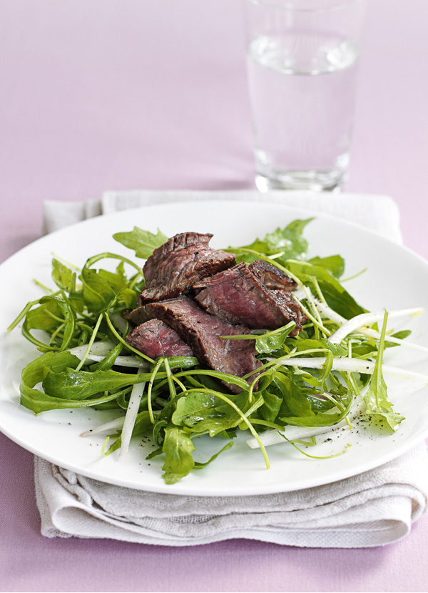 Rocket, seared beef and shallot salad