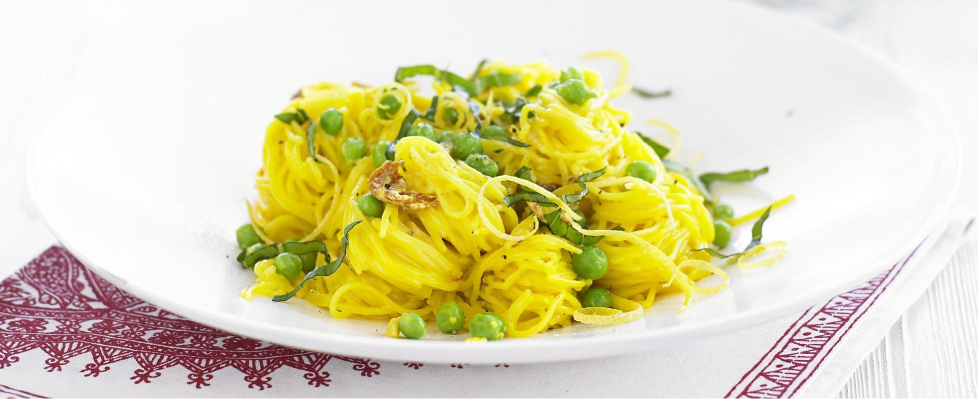 Angel Hair Pasta Recipe with Saffron, Prosciutto and Peas ...