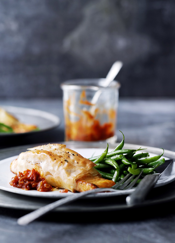 Salmon Filo Parcels With Tomato Ginger Jam Recipe Olive