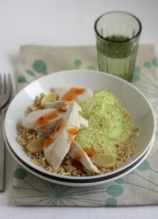 Asian poached chicken with basmati and cucumber