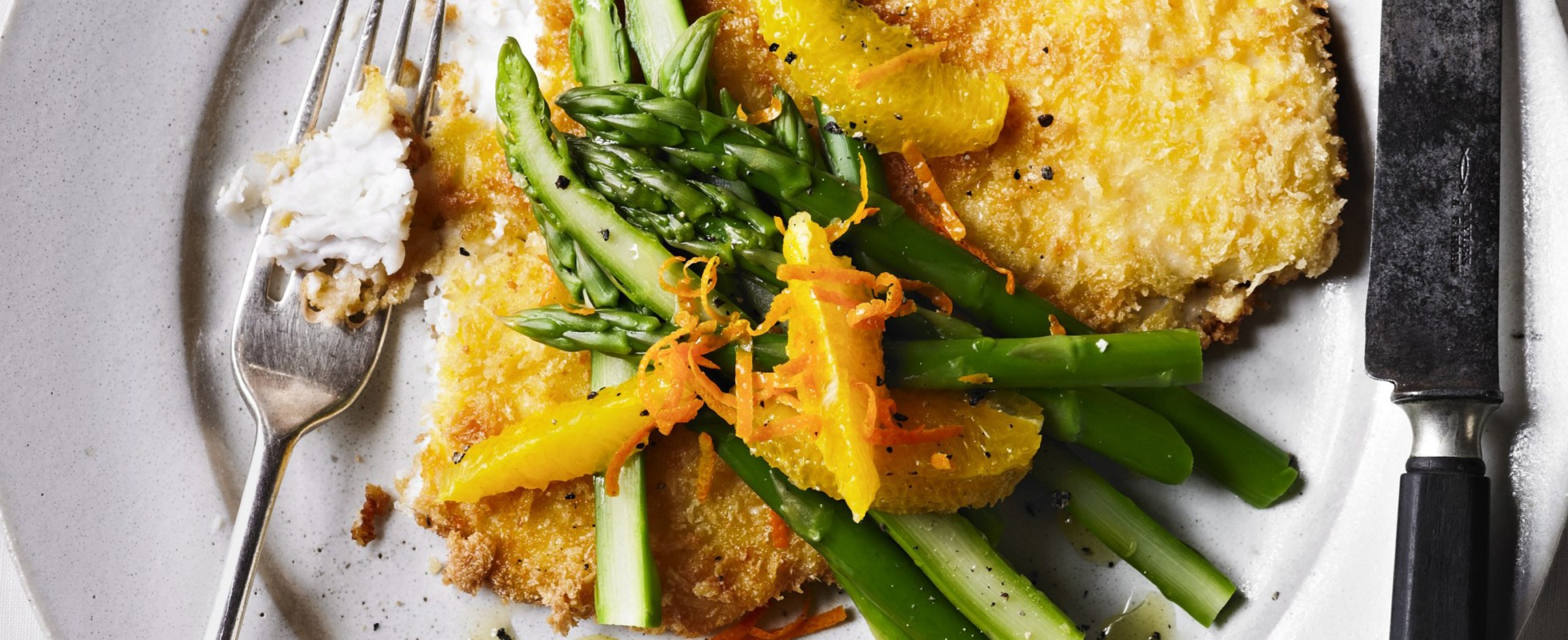 Crumbed haddock with asparagus salad recipe olive magazine for Fish and asparagus