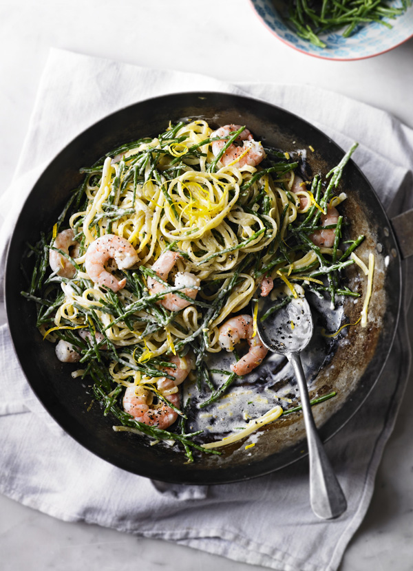 Linguine Pasta Recipe with Samphire and Prawns