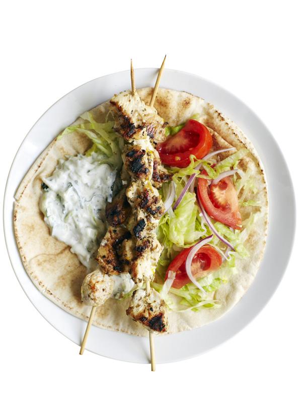 Greek chicken flatbreads with tzatziki