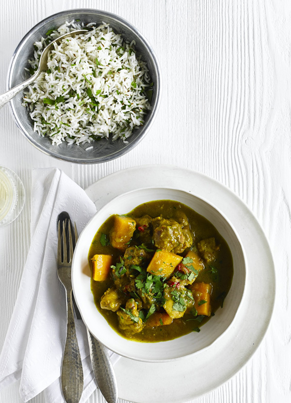 Chicken and butternut curry with cumin and coriander rice