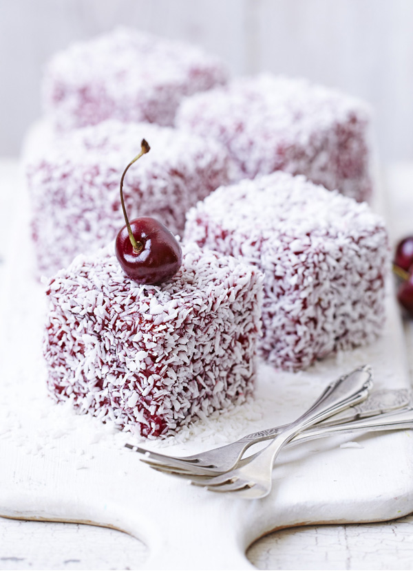 Fresh cherry and coconut lamingtons
