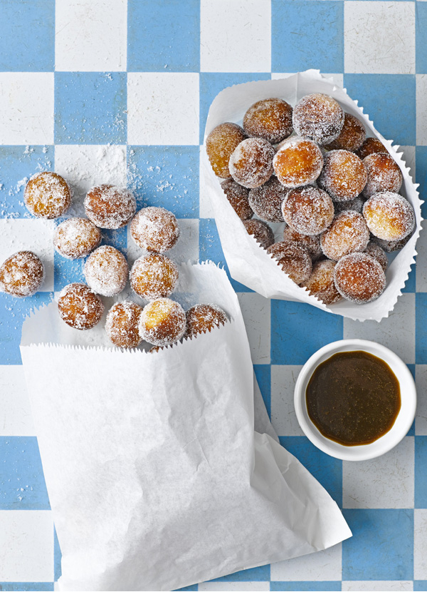 Donut holes with whisky sauce