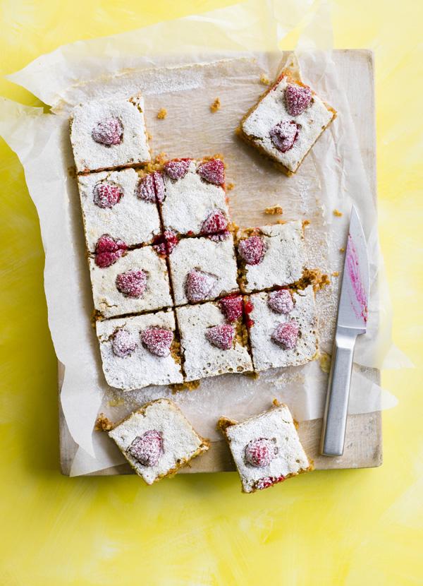 Raspberry and lemon flapjacks