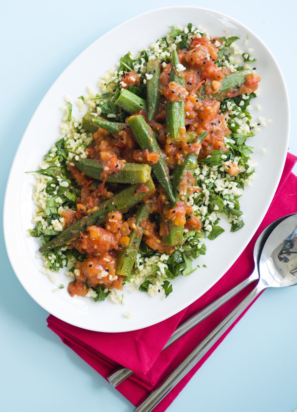 Okra and tomato tabbouleh
