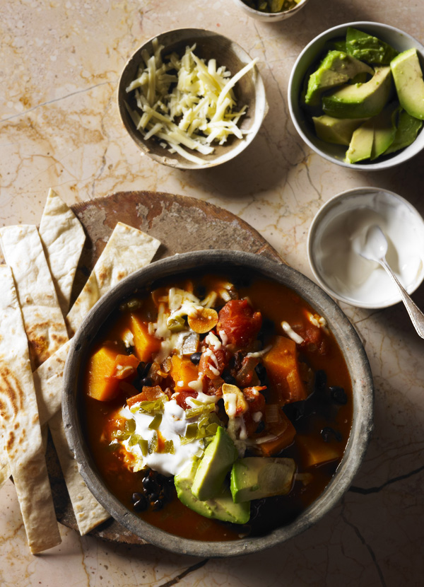 Butternut squash and black bean soup with tortillas