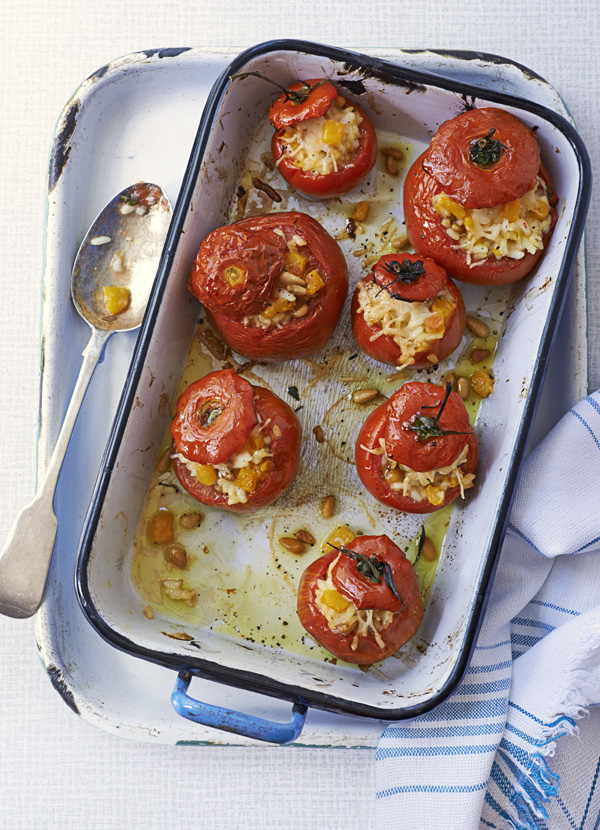 Spinach and risotto-stuffed tomatoes