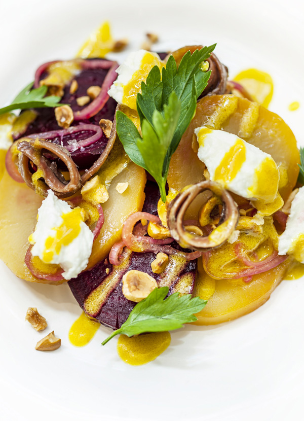 Salt-baked beetroot salad with goat's curd and smoked anchovy