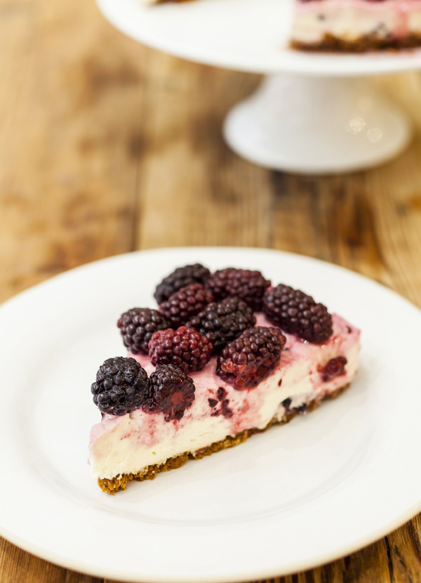 Blackberry cheesecake with poached blackberries