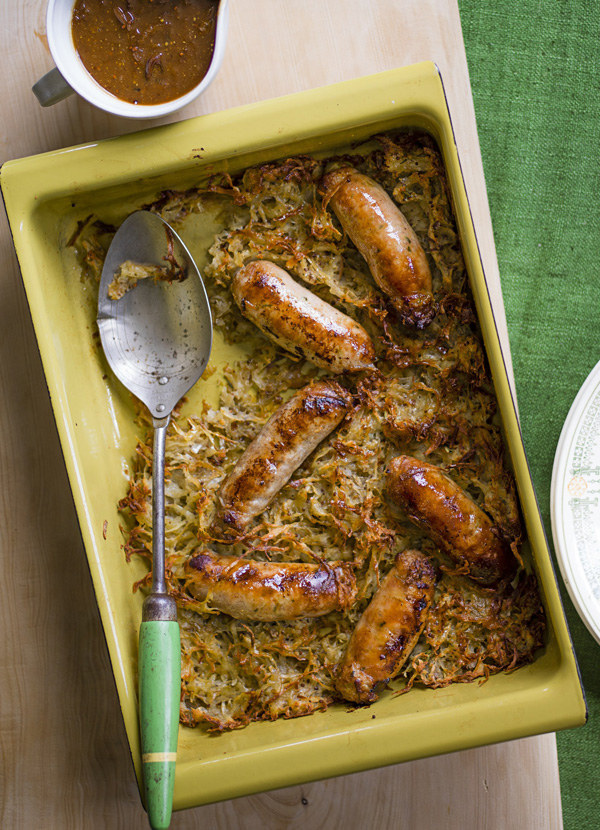 Sausage röstis with caramelised onion gravy