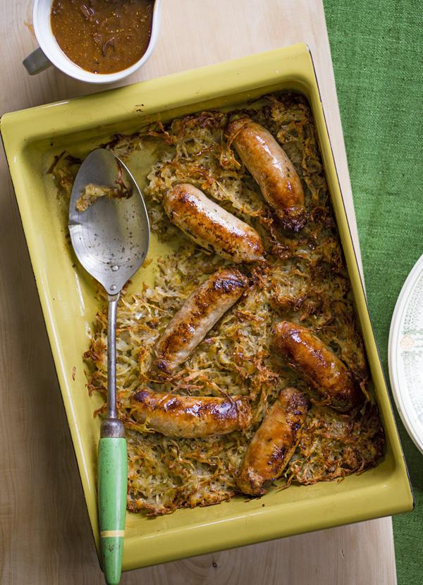 Sausage and Potato Rösti Recipe With Caramelised Onion Gravy