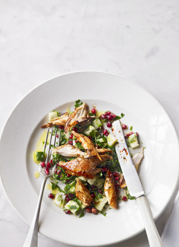 Winter salad with guinea fowl