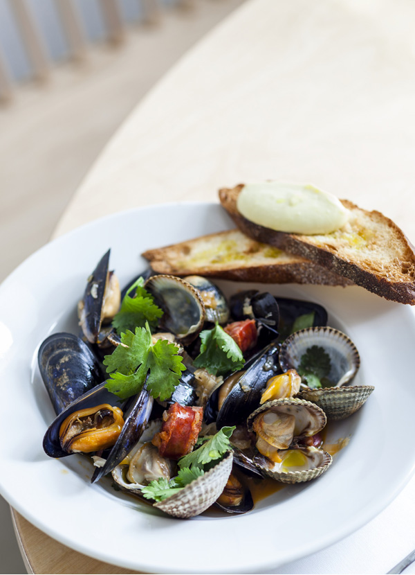 Clams, mussels and chorizo with fino and aïoli