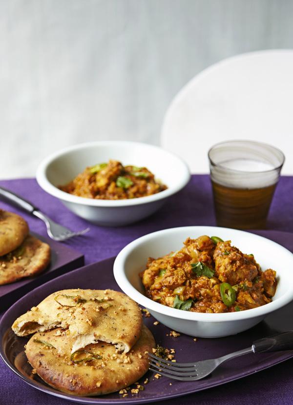 Chicken dhansak with spiced garlic naan