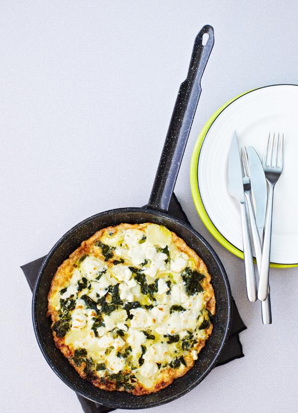Kale and feta tortilla