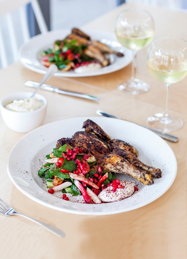 Grilled poussin, fattoush and tahini yoghurt