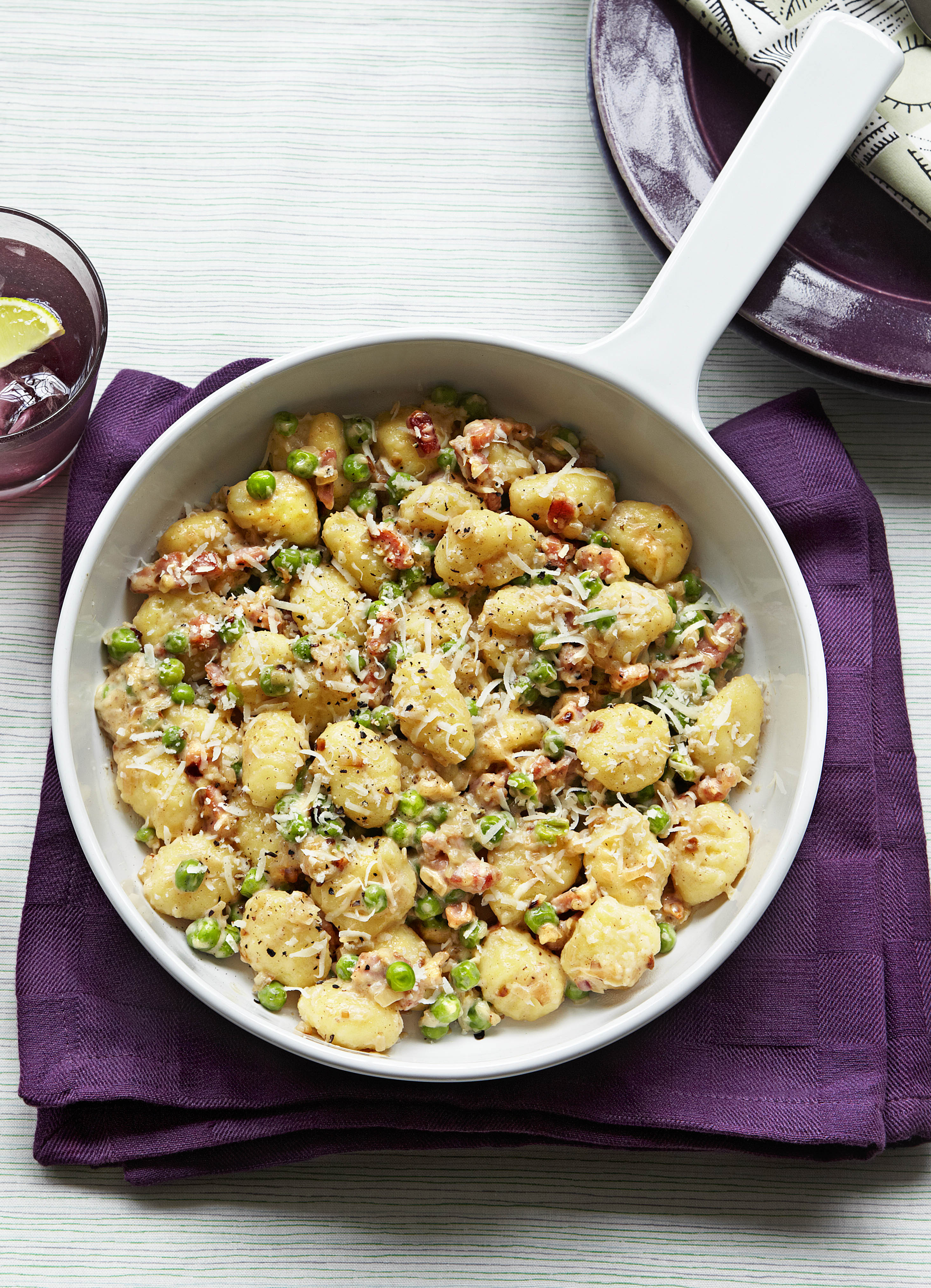 Gnocchi with peas and pancetta