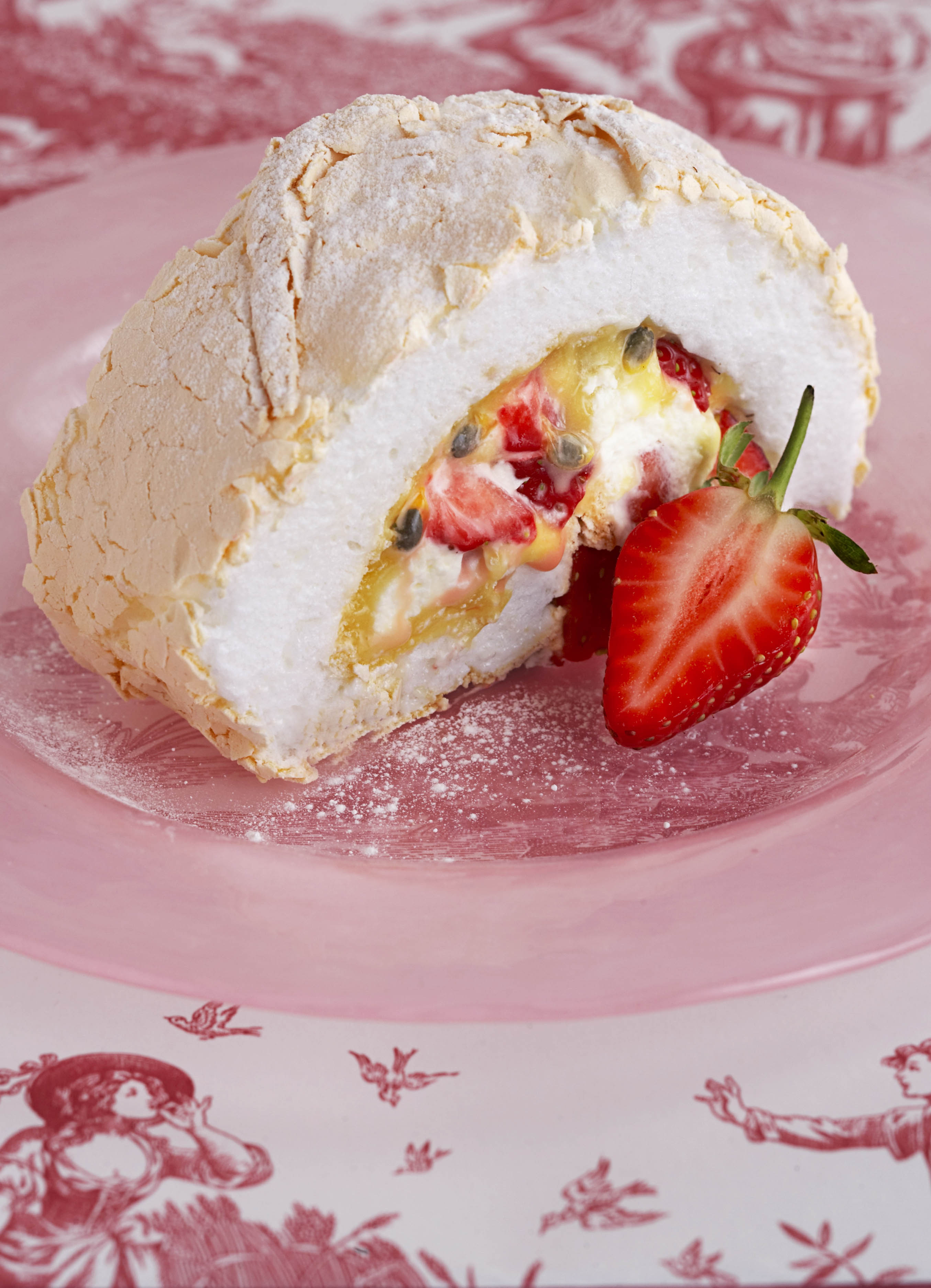 Strawberry and Passion Fruit Meringue Roulade Recipe