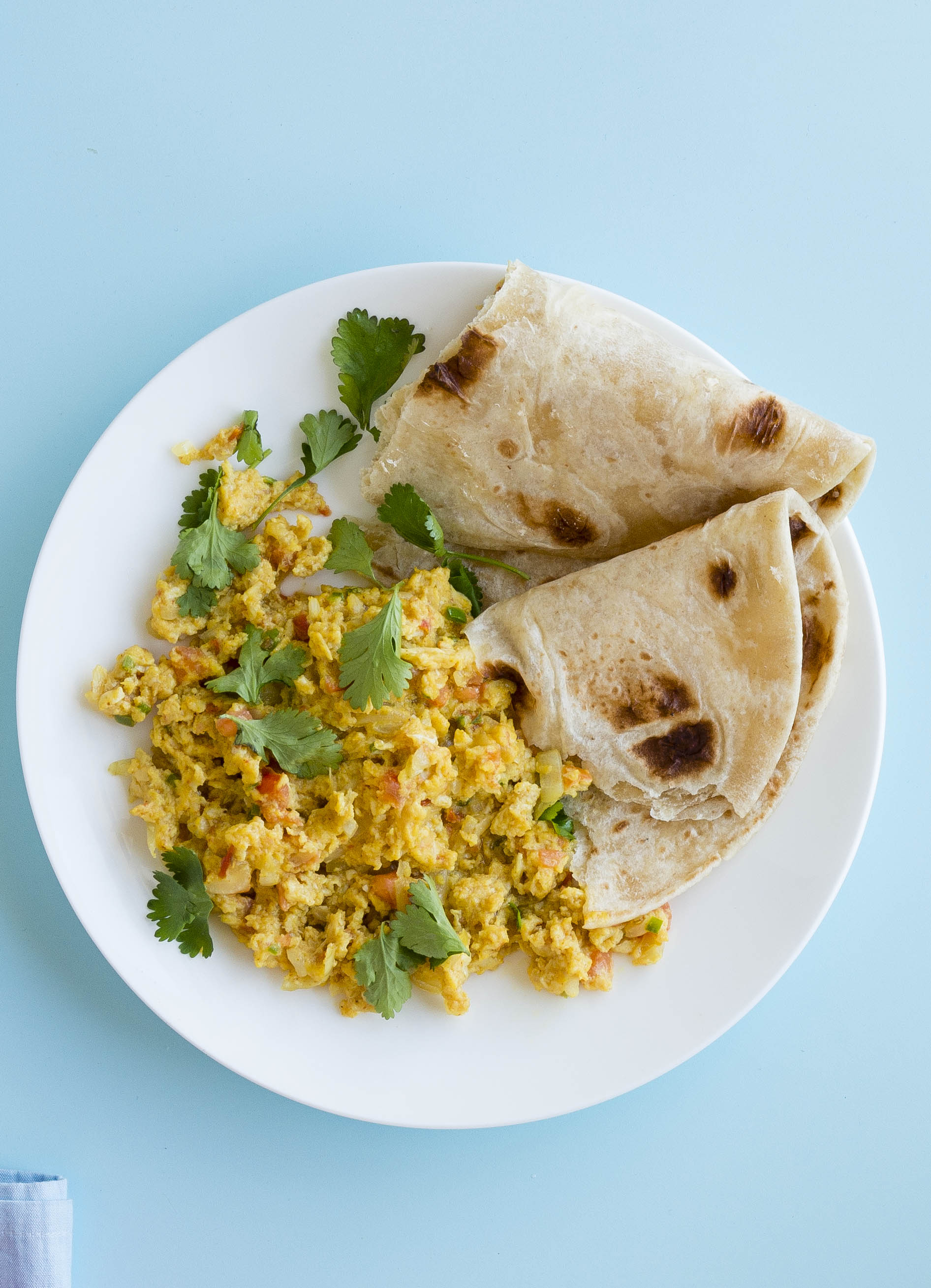 Indian scrambled egg with paratha