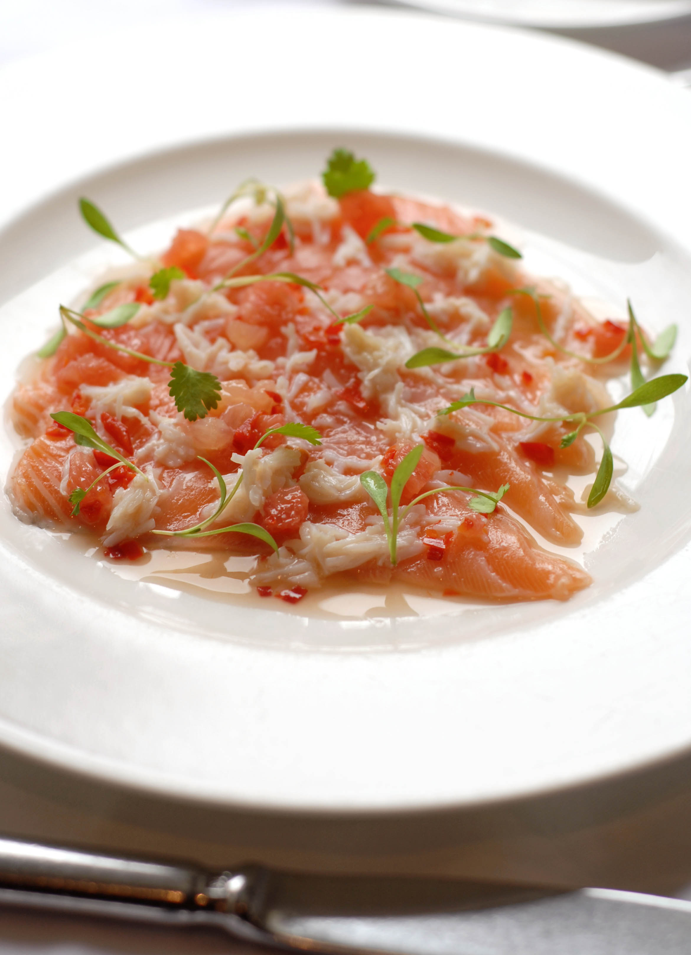 Ceviche of salmon and crab with chilli, lime, coriander and grapefruit ...