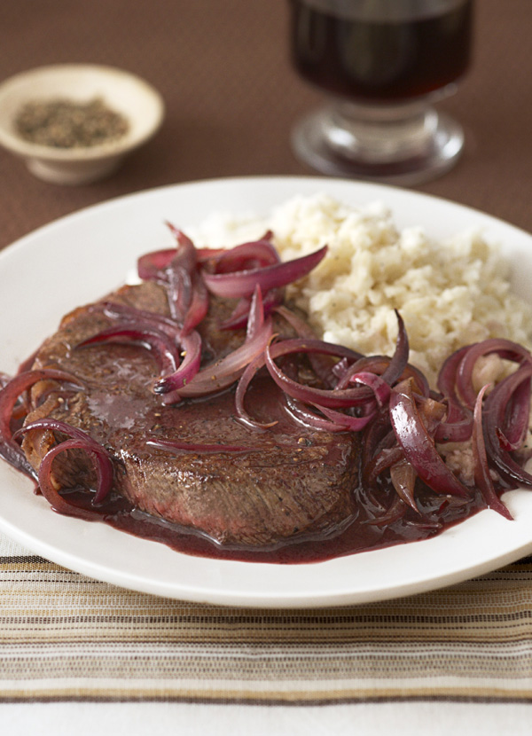 Steak and onions with celeriac mash