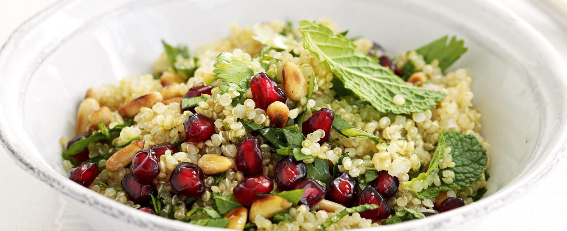 Quinoa, herb and pomegranate salad