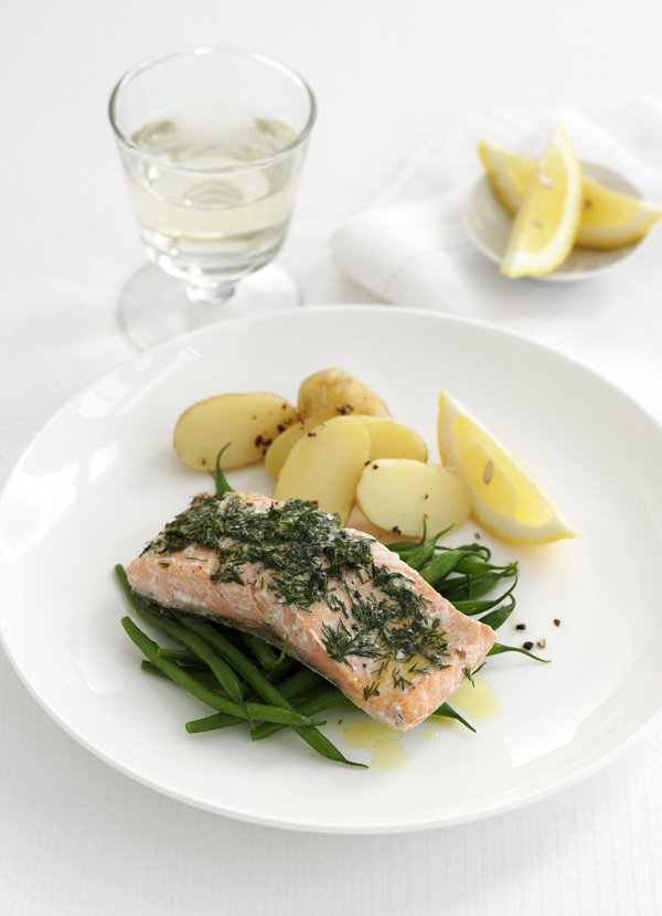 Salmon parcels with dill and wine butter
