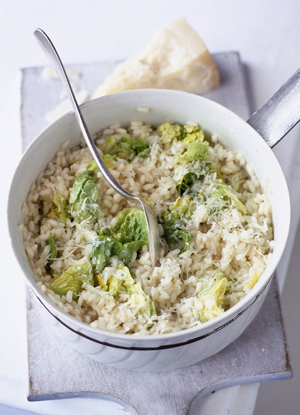 gem lettuce and parmesan risotto