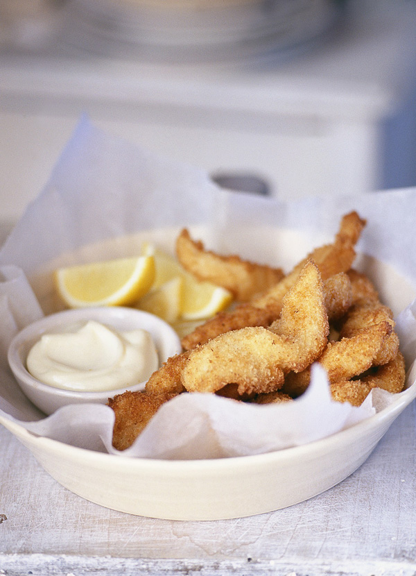 Spiced sole goujons with lemon mayo