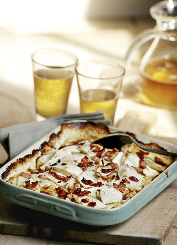 Turnip gratin with cider, cream and bacon